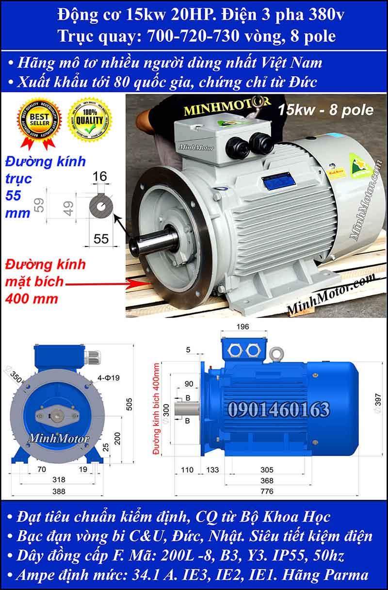 Motor 15kW 20HP 3 pha 8 cực, mặt bích