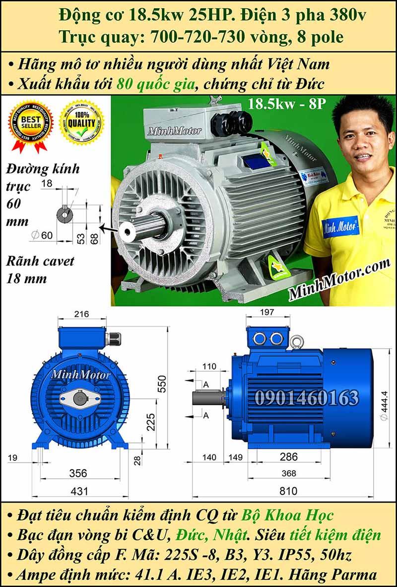 Motor 18.5kW 25HP 3 pha 8 cực, chân đế