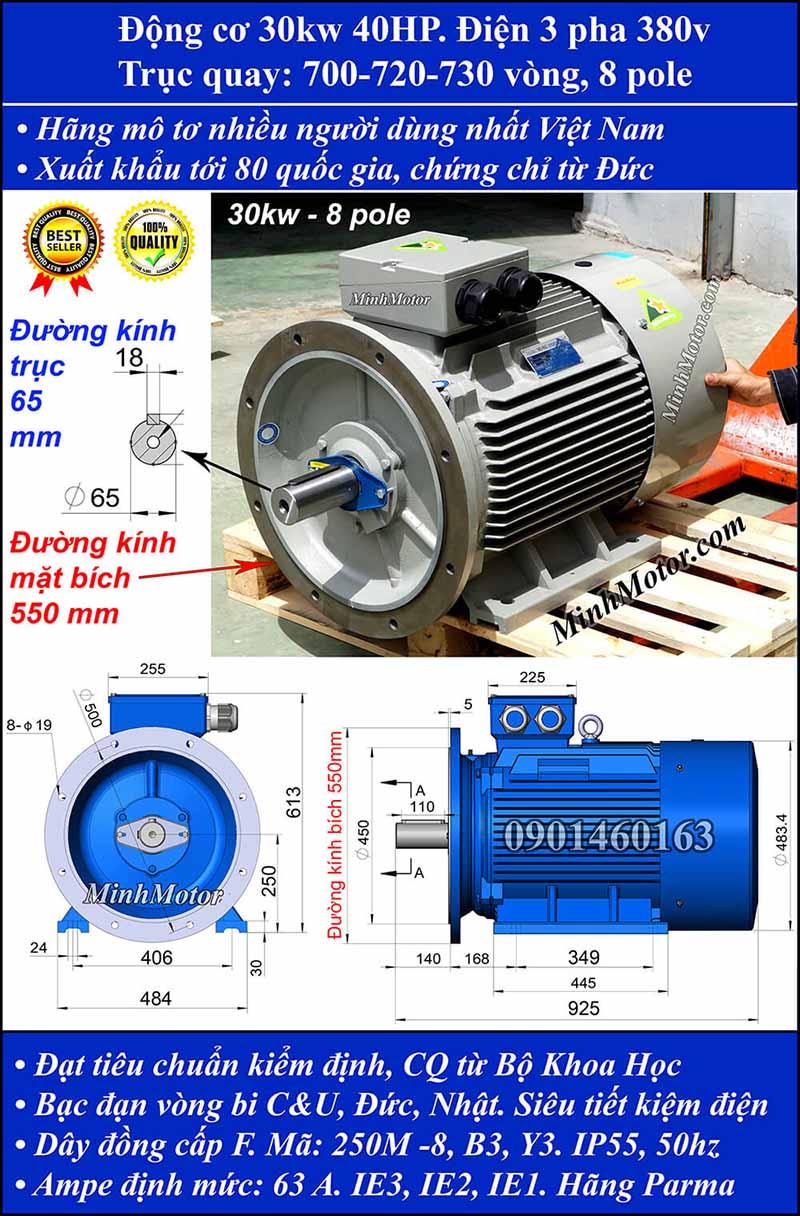 Motor 30kW 40HP 3 pha 8 cực, mặt bích
