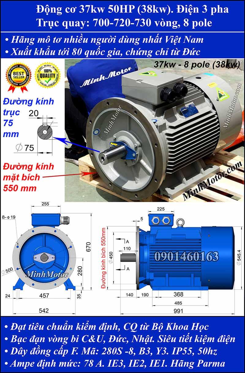 Motor 38kW 50HP 3 pha 8 cực, mặt bích