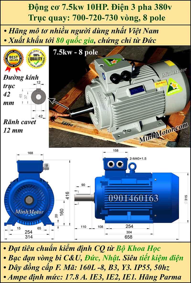 Motor 7.5kW 10HP 3 pha 8 cực, chân đế
