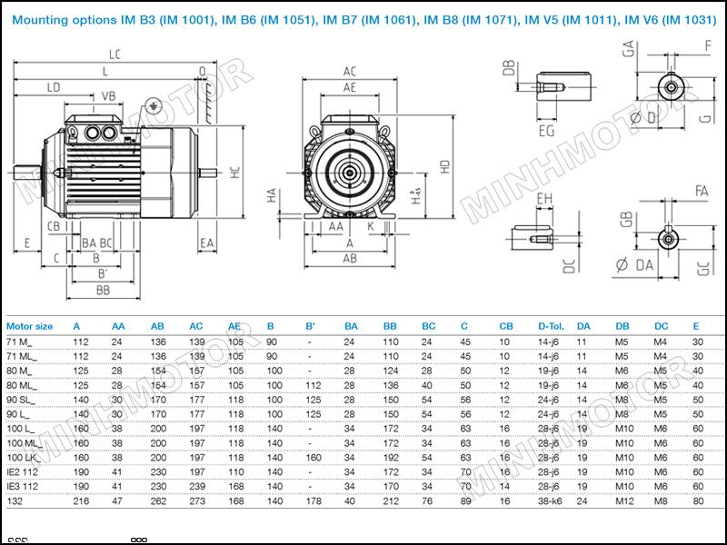 Bản vẽ cataloge Motor ABB 1.5kw 2HP 2 ngựa chân đế