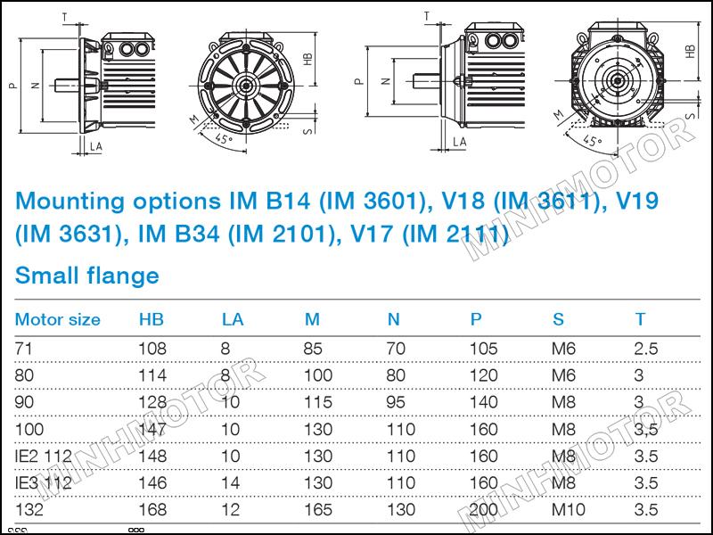 Bản vẽ cataloge Động cơ ABB 1.5kw 2HP 2 ngựa mặt bích