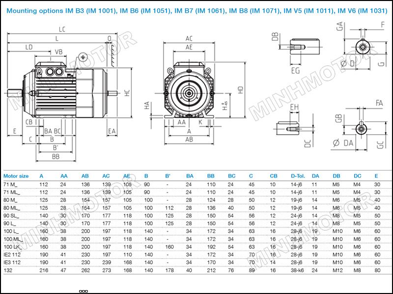 Bản vẽ cataloge Motor ABB 0.75kw 1HP 1 ngựa chân đế