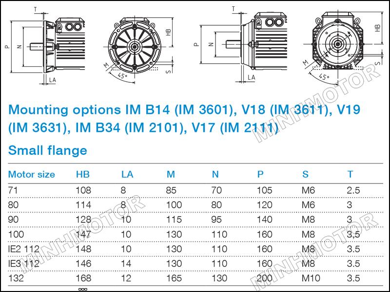 Bản vẽ cataloge Động cơ ABB 0.75kw 1HP 1 ngựa mặt bích