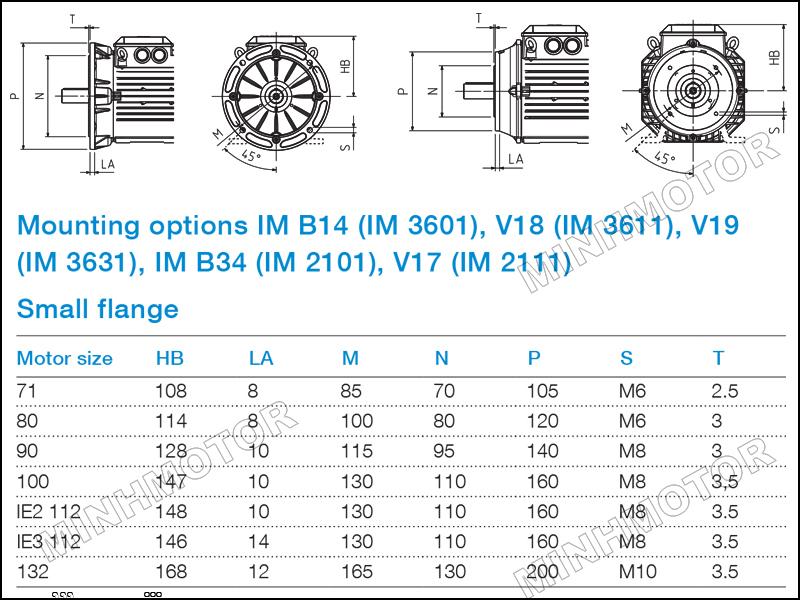 Bản vẽ cataloge Động cơ ABB 5.5kw 7.5HP 7.5 ngựa mặt bích
