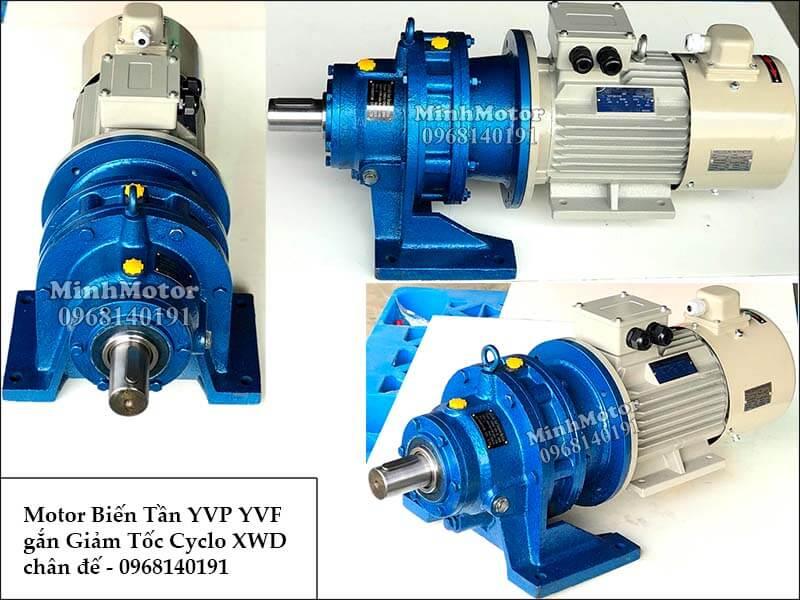 Motor biến tần YVP YVF gắn giảm tốc Cyclo chân đế 1 cấp