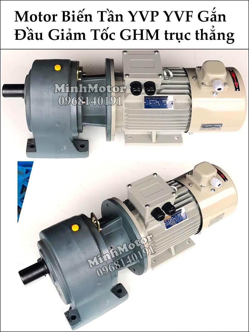 Motor biến tần YVP YVF gắn đầu giảm tốc GHM trục thẳng