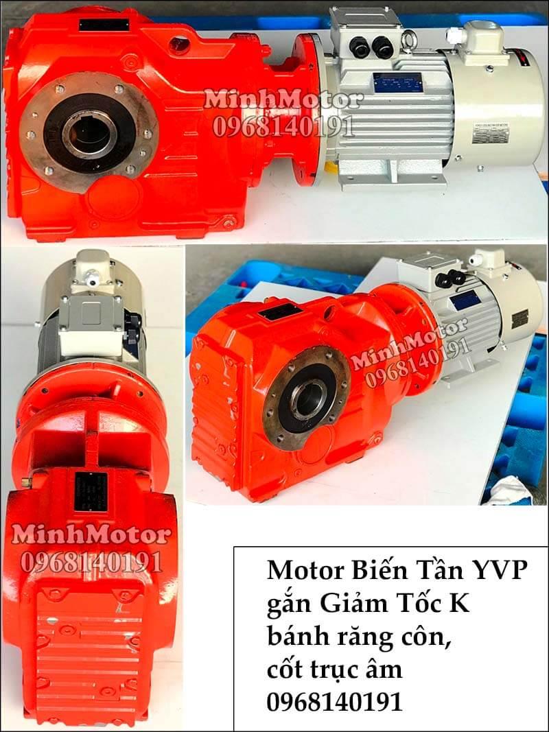 Motor biến tần YVP YVF gắn giảm tốc K bánh răng côn, trục cốt âm
