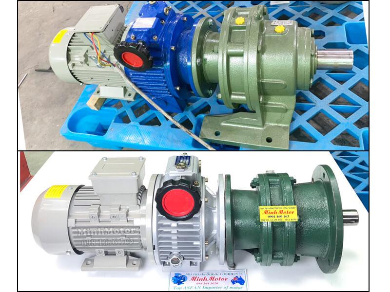 Động cơ hộp số điều tốc cơ gắn hộp số Cyclo chân đế, mặt bích 3.7kw 5HP 1/10
