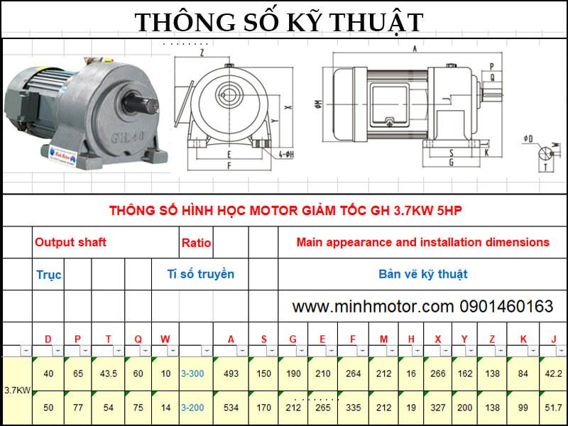 Bản vẽ kỹ thuật động cơ giảm tốc chân đế 3.7kw 5HP 1/10 tốc độ trục ra 140-150 vòng