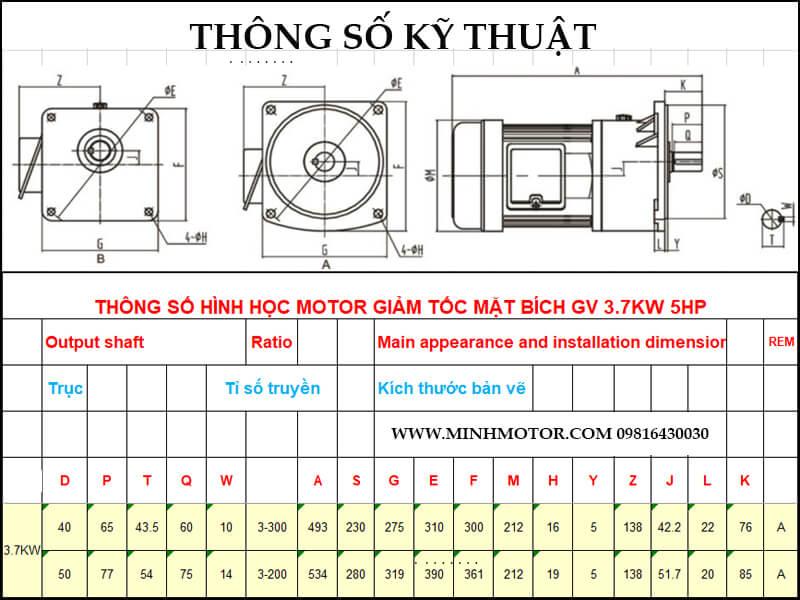 Bản vẽ kỹ thuật động cơ giảm tốc mặt bích 3.7kw 5HP 1/10 tốc độ trục ra 140-150 vòng
