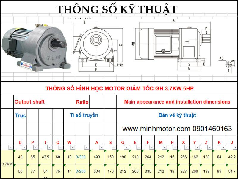 Bản vẽ motor giảm tốc có thắng 4kw 5.5HP trục thẳng