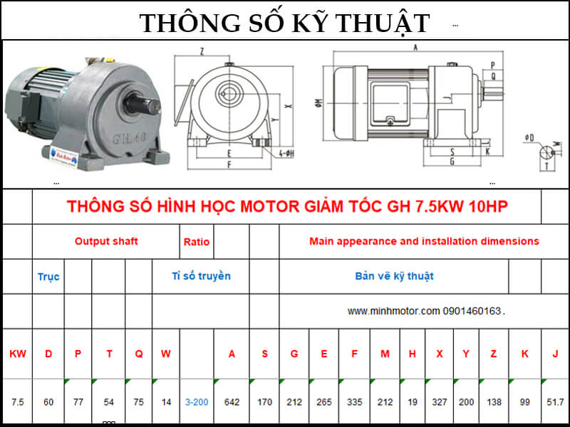 Bản vẽ motor giảm tốc có thắng 7.5kw 10HP trục thẳng