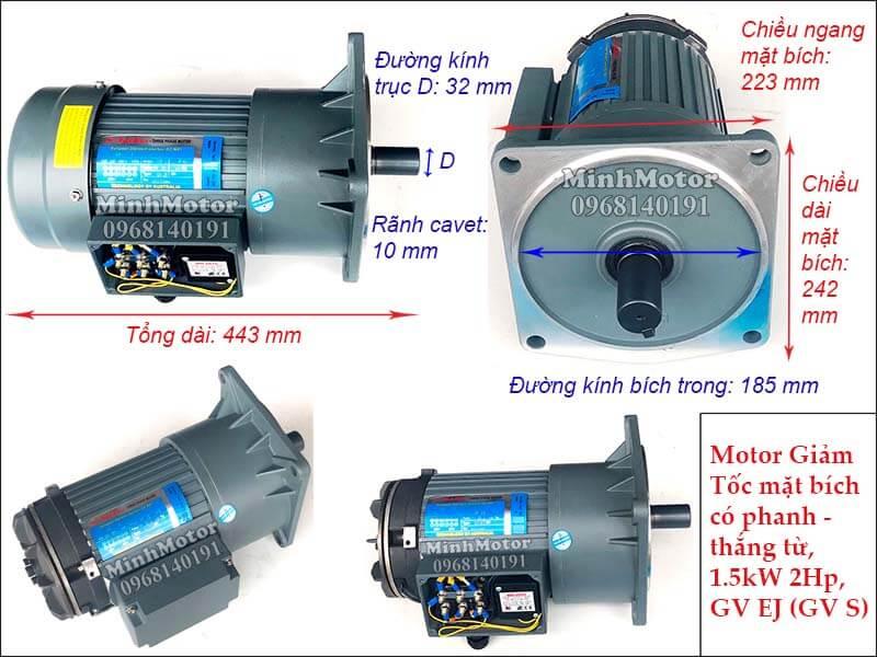 motor giảm tốc mặt bích có phanh - thắng từ 1.5kw 2hp trục 32, GV EJ (GV S)