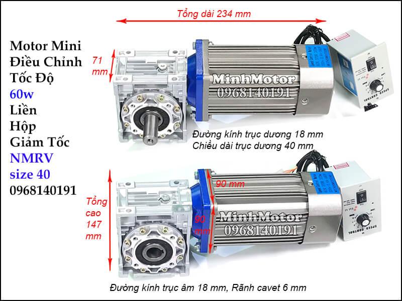 Motor Giảm Tốc mini IRV 60wgắn hộp số NMRV size 40