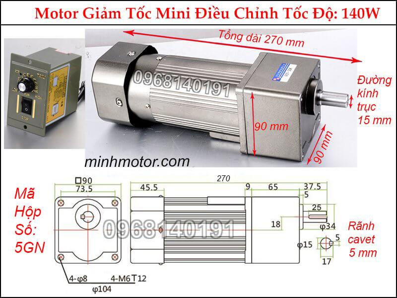 Motor Giảm Tốc 140w 1 Pha 220V