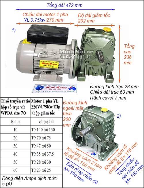 motor giảm tốc 1 pha 220V 0.75kw 1hp WPDA size 70