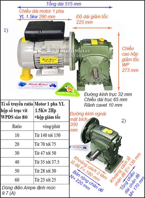 Motor hộp số 1 pha 220v 1.5kw 2hp WPDS size 80
