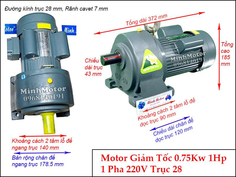 Bản vẽ kỹ thuật Motor giảm tốc 1 pha chân đế 0.75kw 220v