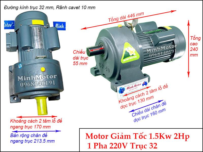 Bản vẽ kỹ thuật Motor giảm tốc 1 pha chân đế 1.5kw 220v