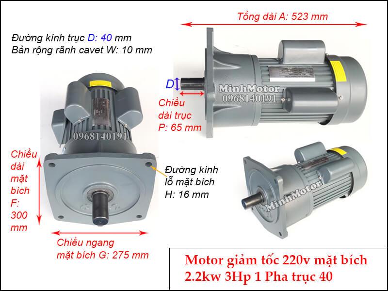 Bản vẽ kỹ thuật Motor giảm tốc 1 pha chân đế 2.2kw 220v