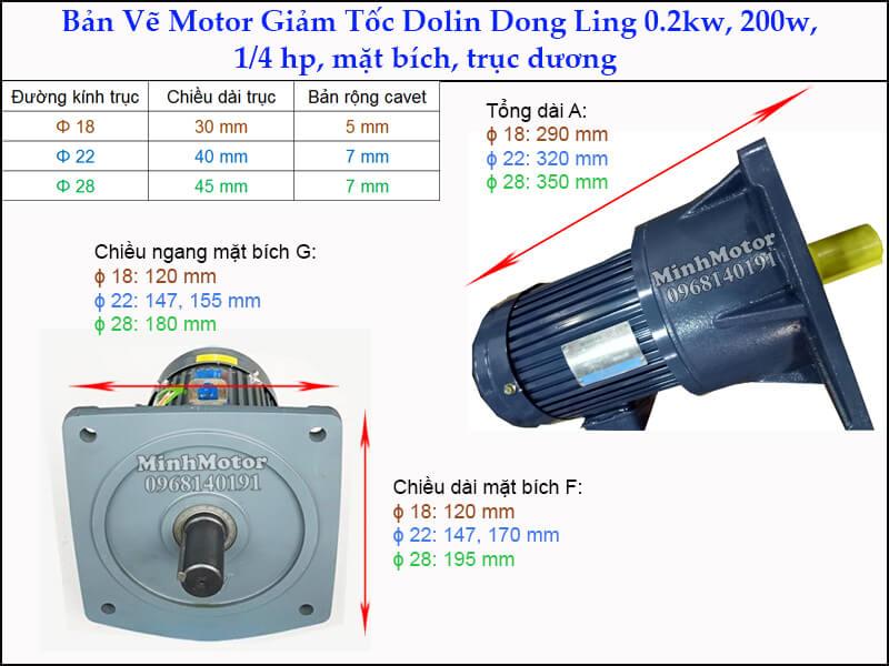 giảm tốc Dolin 0.2kw 200w 1/4hp DLSV mặt bích trục dương
