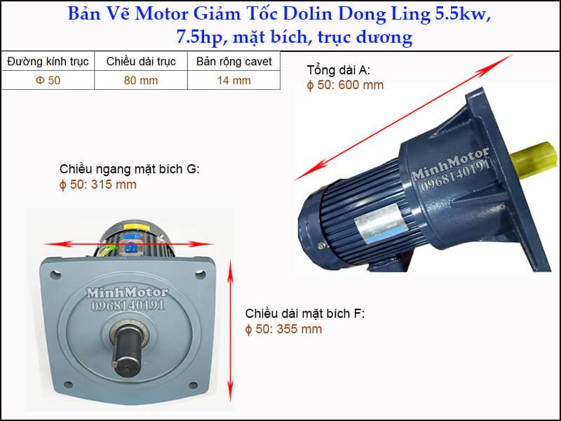 Động cơ giảm tốc Dolin 5.5kw 7.5hp DLSV mặt bích trục dương