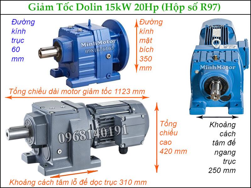 giảm tốc Dolin tải nặng R97 15kw 20Hp