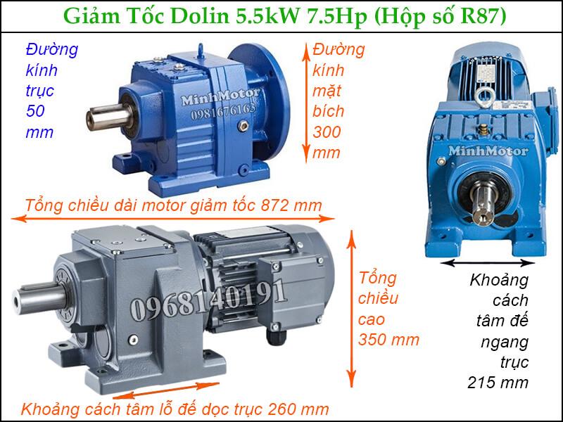 Giảm tốc Dolin tải nặng 5.5kw 7.5hp hộp số R87