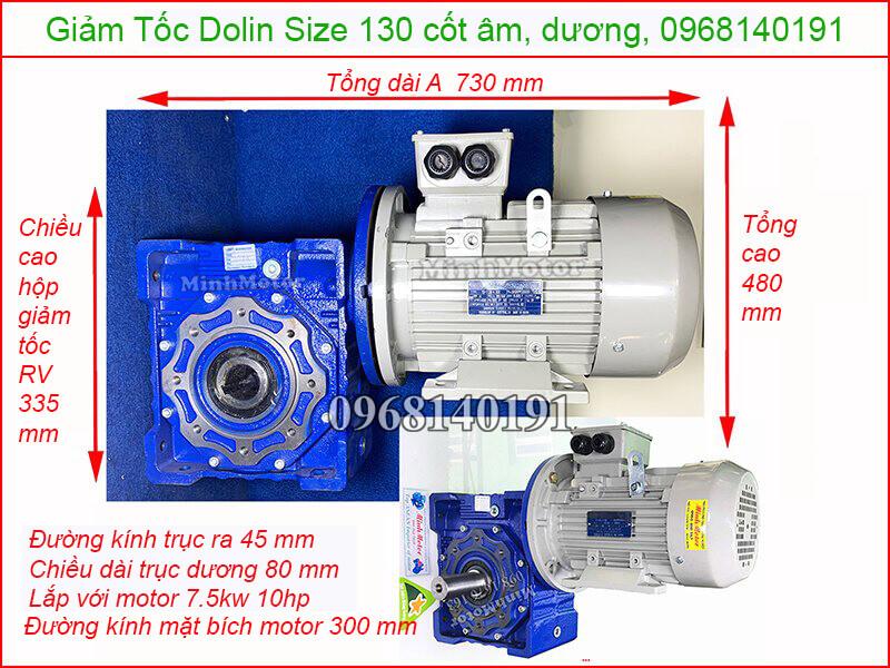 hộp giảm tốc Dolin size 130 cốt âm, dương 7.5kw 10hp