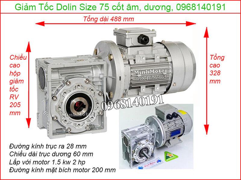 hộp giảm tốc Dolin size 75 trục dương, âm 1.5kw 2hp