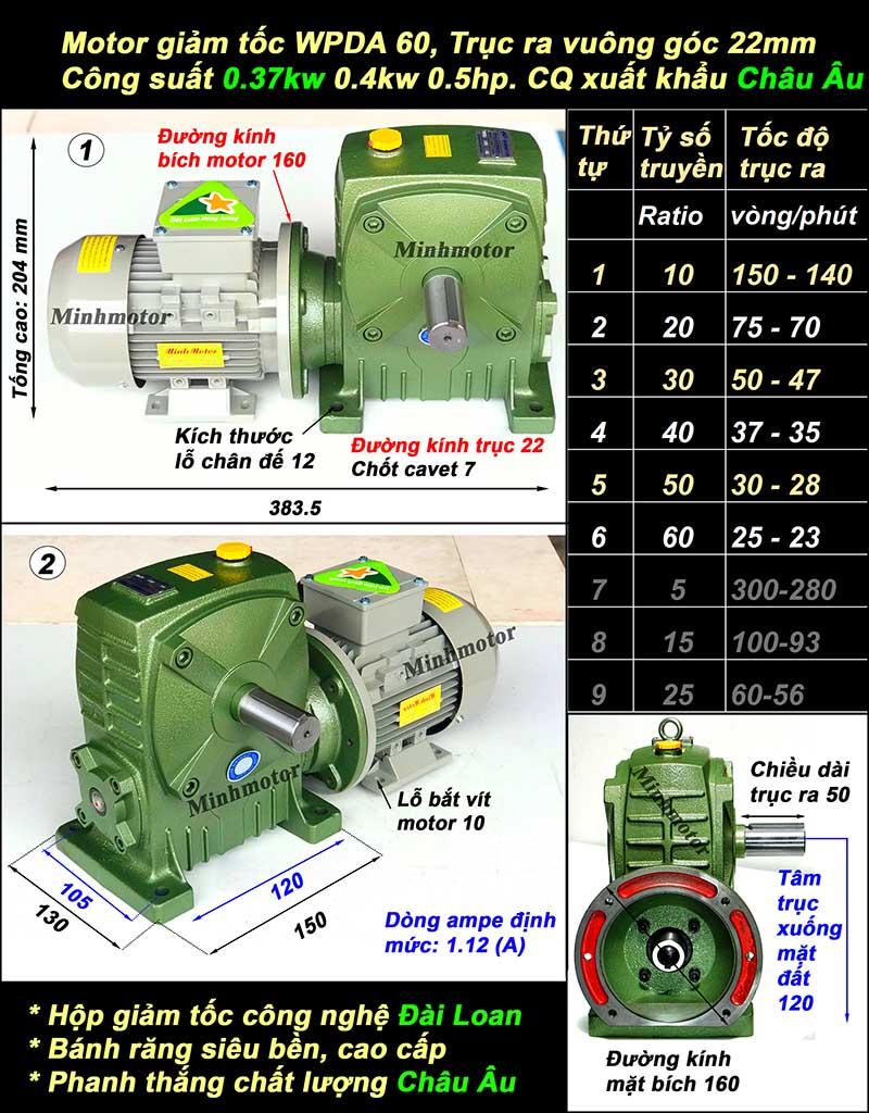 Motor hộp số 0.37Kw 0.5Hp WPDA 60