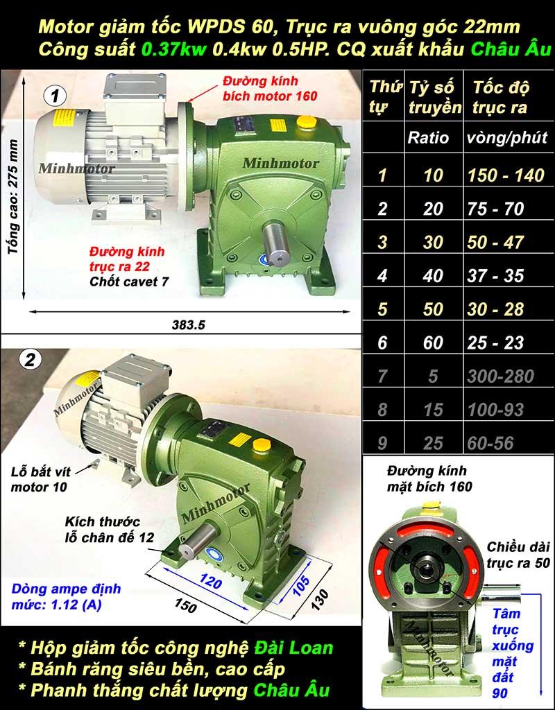Motor họp số 0.37Kw 0.5Hp WPDS 60