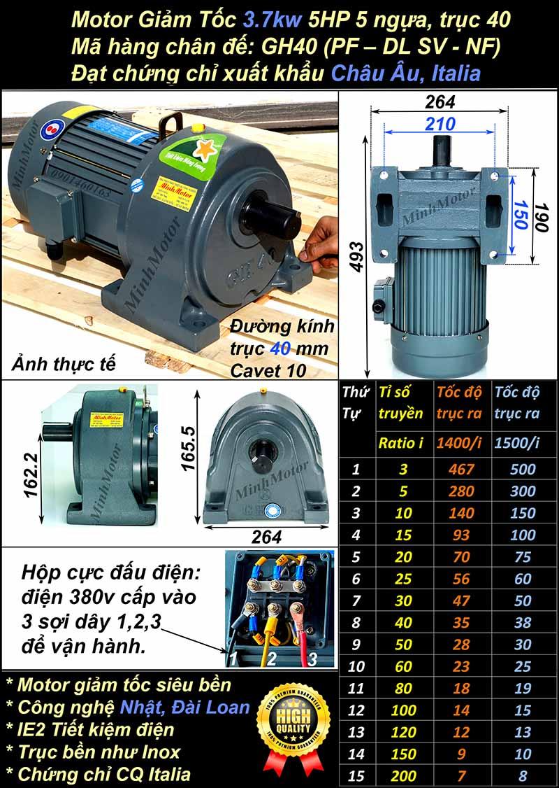Motor giảm tốc 3.7Kw 5HP tỉ số truyền 100 chân đế GH, trục 40