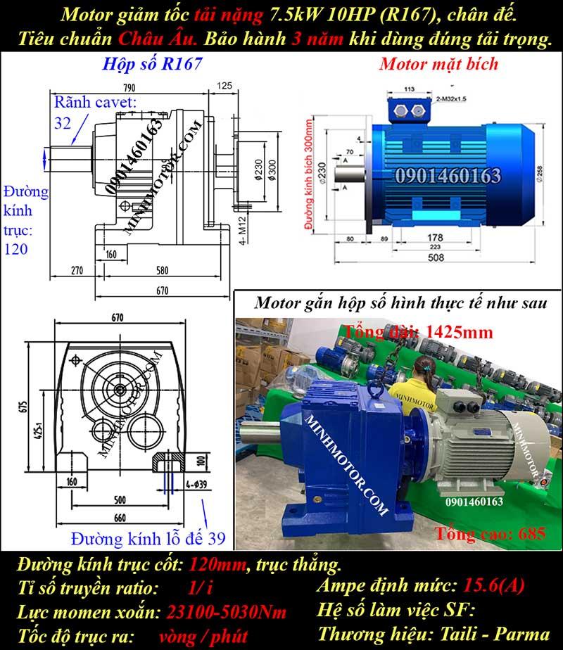 Động cơ giảm tốc 7.5Kw 10Hp R167