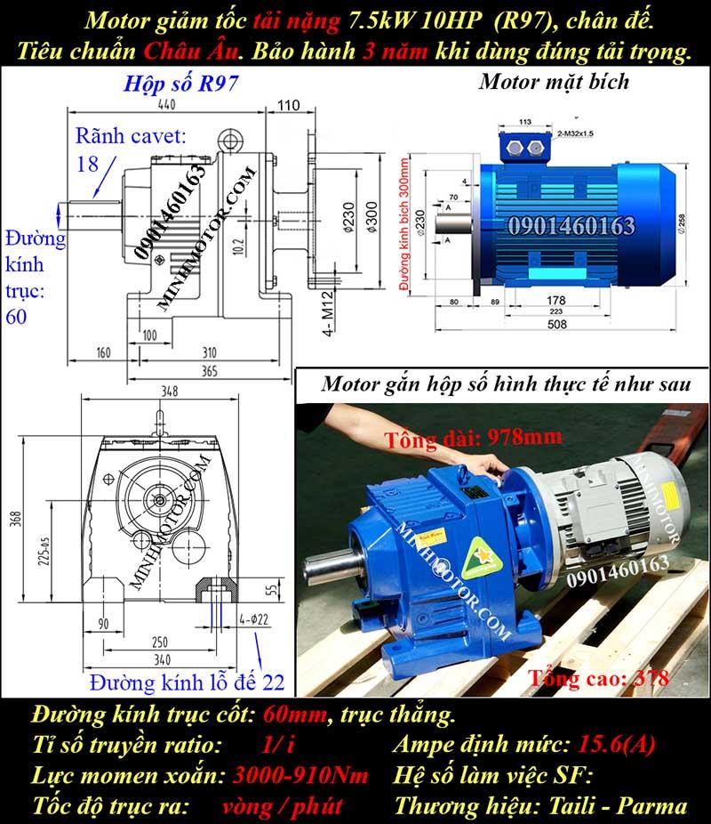 Động cơ hộp số 7.5Kw 10Hp R97