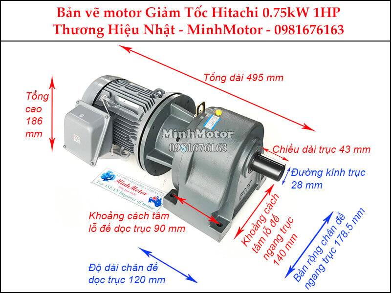 Motor giảm tốc Hitachi 0.75Kw 1Hp chân đế