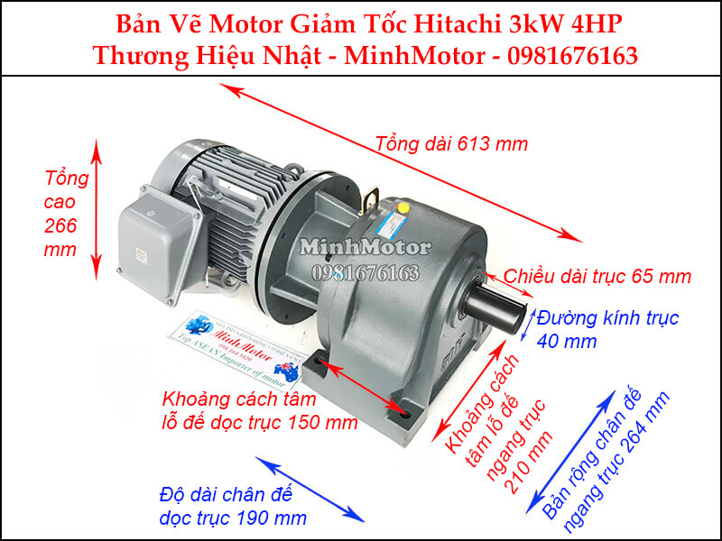 Motor giảm tốc Hitachi 3Kw 4Hp chân đế
