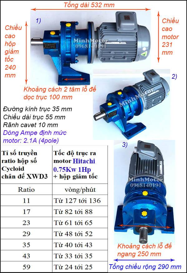 Motor Hitachi giảm tốc cycloid 0.75Kw 1Hp, trục thẳng XWD3