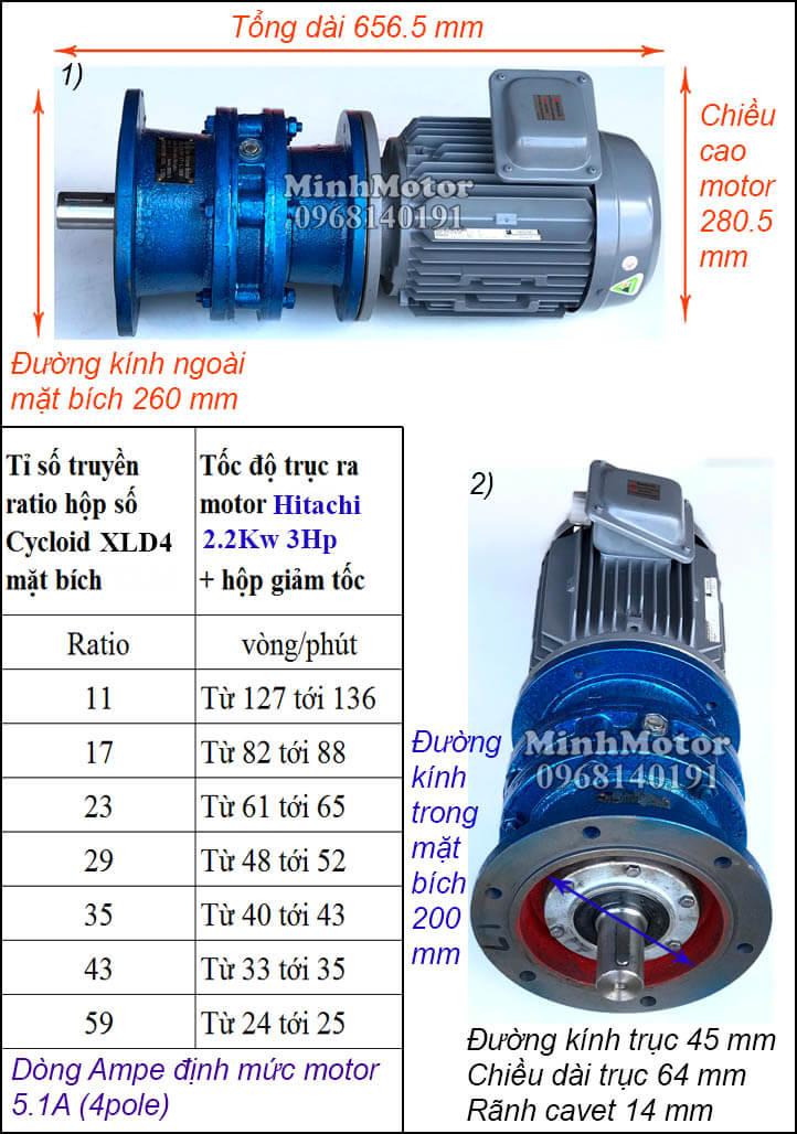 Motor giảm tốc mặt bích Hitachi 2.2Kw 3Hp khuấy XLD4