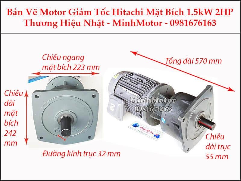 Động cơ giảm tốc Hitachi 1.5Kw 2Hp mặt bích