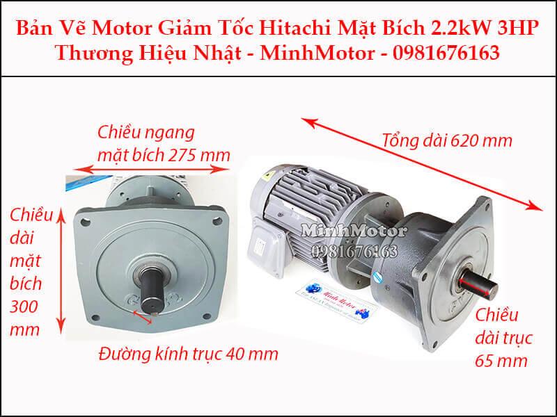 Động cơ giảm tốc Hitachi 2.2Kw 3Hp mặt bích