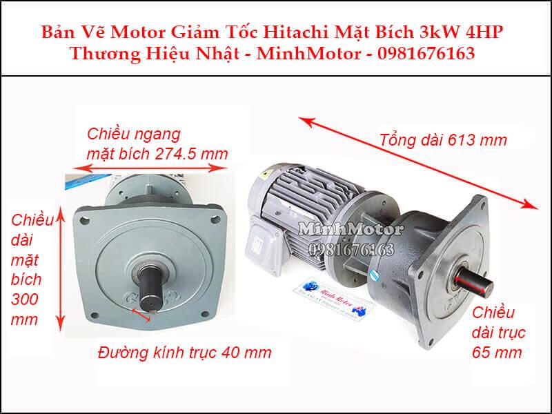 Động cơ giảm tốc Hitachi 3Kw 4Hp mặt bích