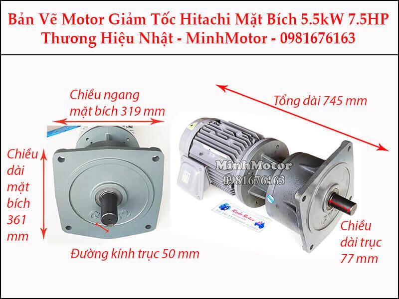 Động cơ giảm tốc Hitachi 5.5Kw 7.5Hp mặt bích