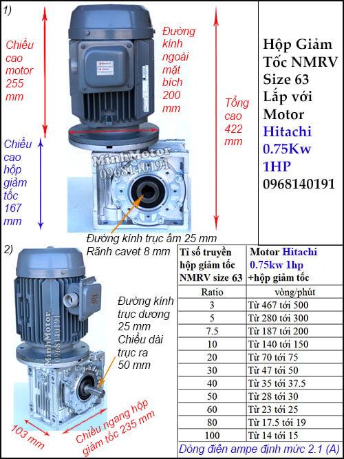 Động cơ hộp số Hitachi 0.75Kw 1Hp NMRV 63 cốt ra vuông góc lắp thẳng đứng