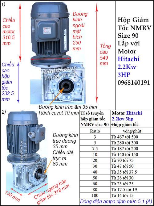 Động cơ Hitachi 2.2Kw 3Hp hộp giảm tốc RV 90lắp thẳng đứng