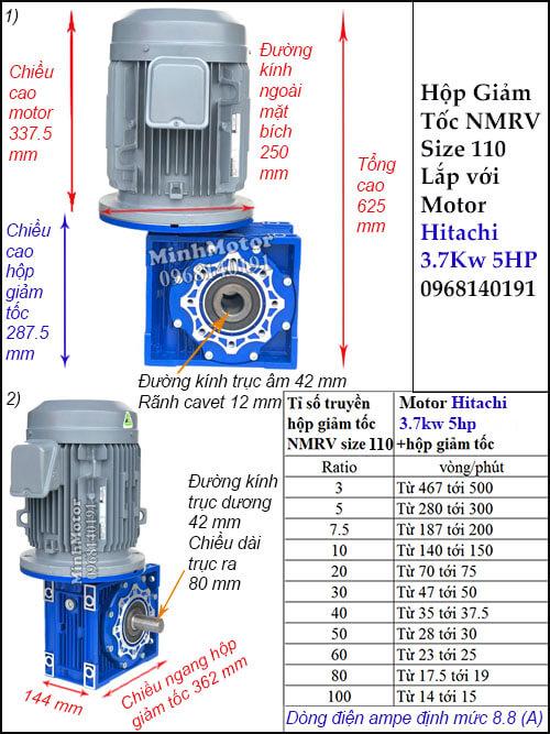 Động cơ hộp số Hitachi 3.7Kw 5Hp NMRV 110 cốt ra vuông góc lắp thẳng đứng