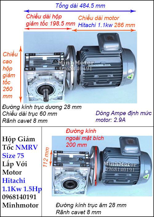 Động cơ hộp số Hitachi 1.1Kw 1.5Hp NMRV 75 cốt ra vuông góc