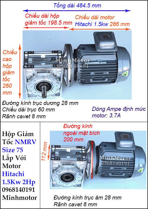 Động cơ hộp số Hitachi 1.5Kw 2Hp NMRV 75 cốt ra vuông góc